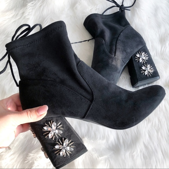 a new day Shoes - A New Day • Black Crystal Heeled Booties